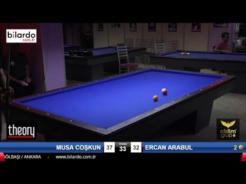 MUSA COŞKUN & ERCAN ARABUL Bilardo Maçı - AKSOY BİLARDO 3 BANT TURNUVASI-1. Tur