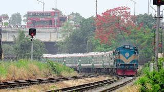 Ekota Express Train passing under Banani Flyover, Dhaka || Bangladesh Railway