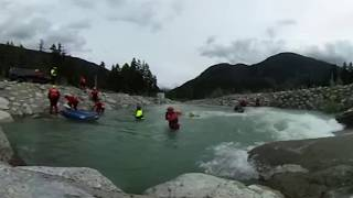 A 360 view of rescuers learning how to get people out of submerged cars