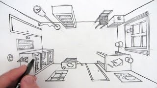 How To Draw A Room In One Point Perspective: A Bird's Eye View