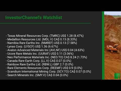 InvestorChannel's Rare Earths Watchlist Update for Friday, May 22, 2020, 16:03 EST