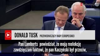 Tusk uszczypliwie o Kaczyńskim na forum Europarlamentu. Co powiedział?
