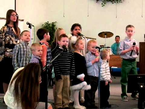 """Our God is an awesome God"" Children singing at First Apostolic Church of Mishawaka 2-24-2013"