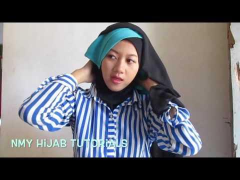 Video Tutorial Hijab Segi Empat Paris 2 Warna Untuk Pesta Kondangan Simple by #NMY Hijab Tutorials