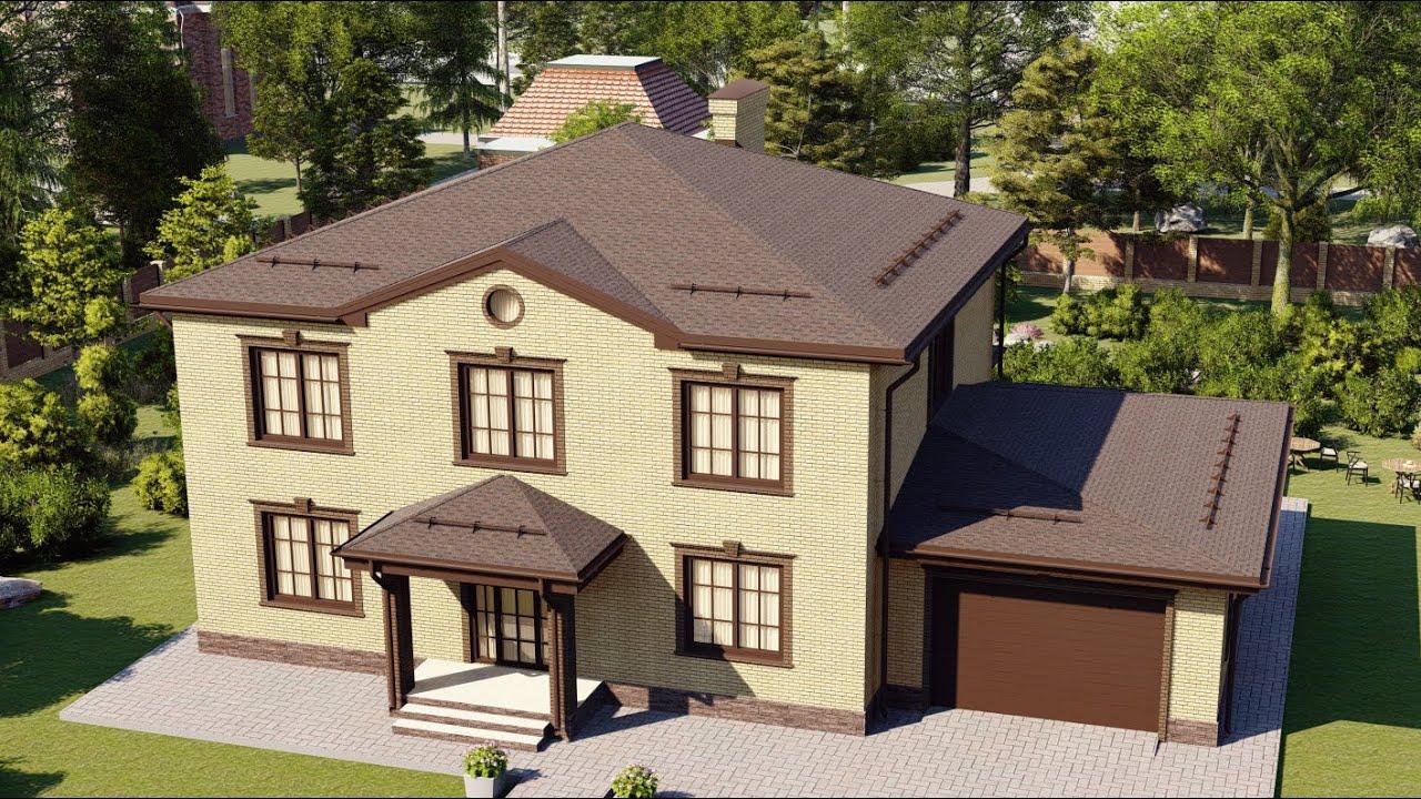 Классический проект шестикомнатного дома из газобетона