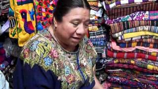 Lidia Lopez Explaining the Meanings of the Patterns on a Huipil from Patzicia.