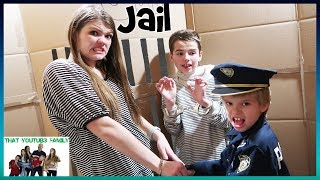 Cops And Robbers In A Huge Box Fort Maze  That YouTub3 Family   Family Channel