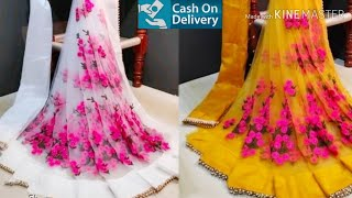 Latest Designer Sarees With Blouse || Trendy Net Sarees || Party Wear Sarees With Price