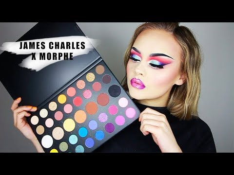 DRAG MAKEUP USING THE JAMES CHARLES X MORPHE PALLET! | Lucy Garland