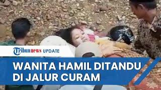 Viral Video Wanita Hamil Tua di Jember Ditandu Melintasi Jalur Terjal Gara-gara Jembatan Dibongkar
