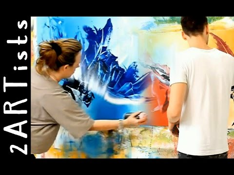 Abstract acrylic painting demo showing parts of personal art lesson - by zacher-finet