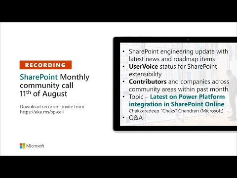 SharePoint Community – August 2020 monthly community call recording