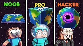 Minecraft - EARTH BUILD BATTLE! (NOOB vs. PRO vs. HACKER)