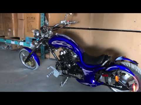 Startup & Walkaround on the 2017 Premium Villain Chopper 250cc Motorcycle