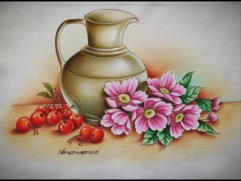 Jarro, Cerejas e Flores