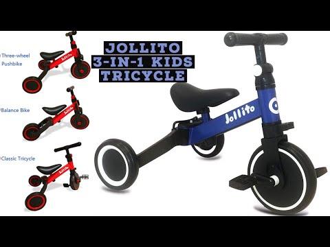 Jollito 3-in-1 Kids Toddler Tricycle Indoor/Outdoor Pushbike Balance Bike - Setup
