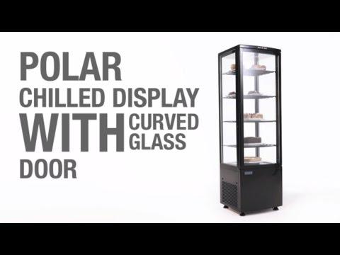 Video Polar koelvitrine - zwart - gebogen glasdeur - inhoud: 235 liter - DP289