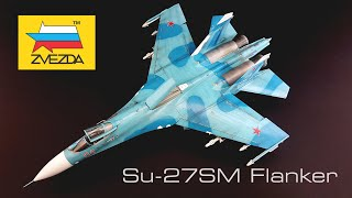 Su-27SM Flanker B Сухой Су-27СМ Фланкер Б FULL BUILD VIDEO with Photo Etche parts 1/72 Zvezda