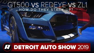 Mustang Shelby GT500 vs. Challenger Redeye vs. Camaro ZL1: How do they stack up?   Detroit 2019