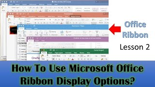 Ribbon Bar Display Options in Microsoft Office 2016 / 2019 Tutorial - Lesson 2