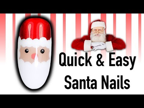 HOW TO PAINT SANTA NAILS | CHRISTMAS QUICKIE FATHER CHRISTMAS NAIL ART TUTORIAL