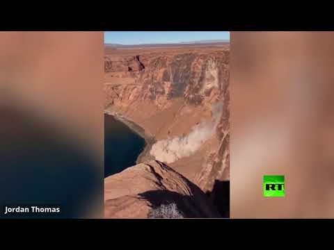 العرب اليوم - شاهد: لحظة انزلاق صخري قرب منتزه غراند كانيون الأميركي