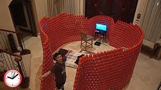 BUILDING A GIANT 10,000 RED CUP FORT!! (24 HOUR OVERNIGHT CHALLENGE)
