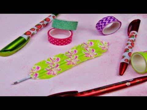 Basteln: Kugelschreiber Feder / DIY Idee / Stift verschönern / Washi Tape