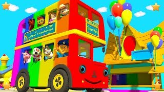 Wheels On The Bus Go Round and Round | Kindergarten Nursery Rhymes for Children by Little Treehouse
