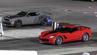 Hellcat vs Z06 Corvette - drag racing
