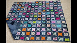 Faux Cathedral Window Quilt As You Go Demin