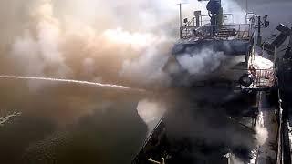 Пожар на судне. Рязань, 30.09.2018