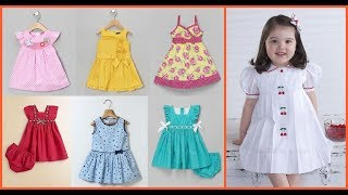 Casual Baby Girl Cotton Frock Designs=Decent Simple Frock For Little Girl