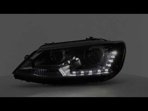 Black DRL LED Projector Headlights For 11-16 Jetta MK6 Sedan Halogen Model