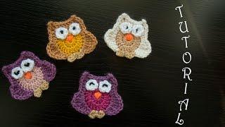 Sowa Na Szydełku - Aplikacja. Crochet Owl. Tutorial (eng.subt.)