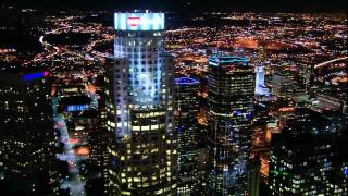 Night helicopter flight over Los Angeles