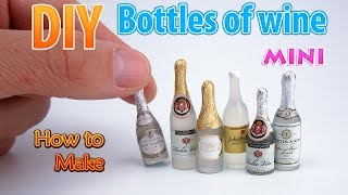 DIY Miniature Wine Bottles | DollHouse Food, Accessories And Toys For Barbie | No Polymer Clay!