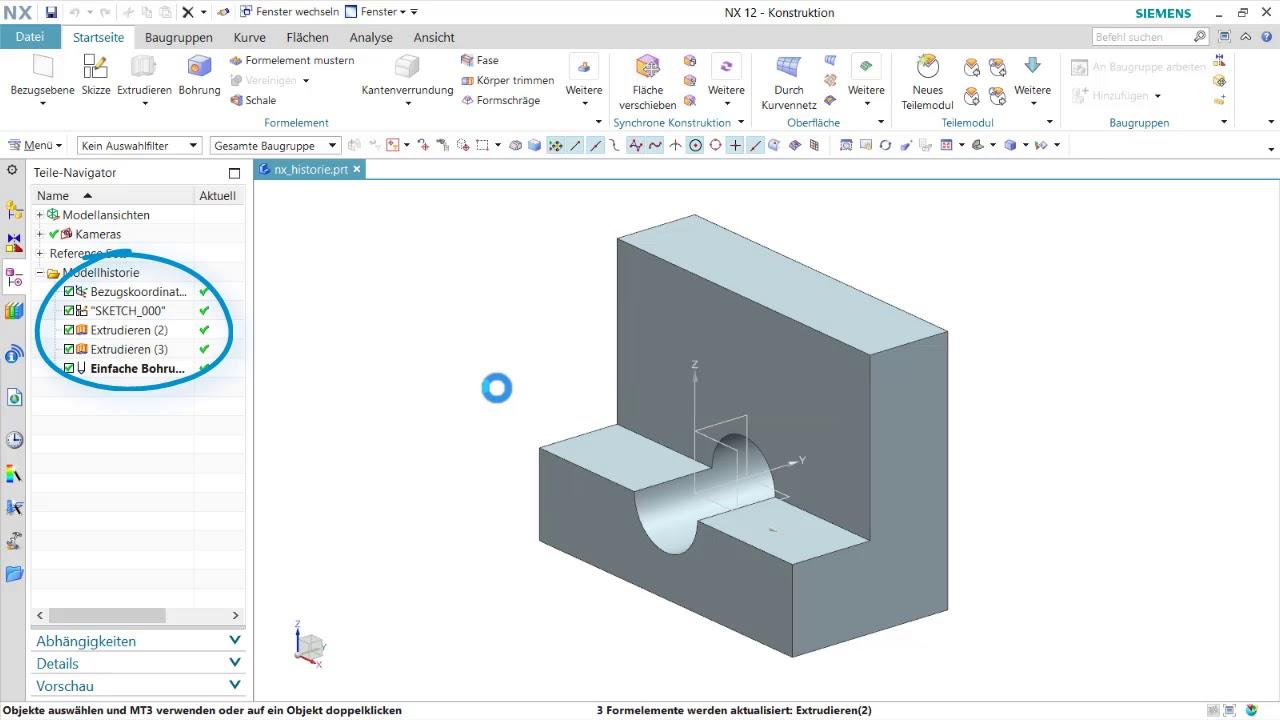 Vorschaubild: NX Tutorial: Verhalten beim Löschen übergeordneter Formelemente