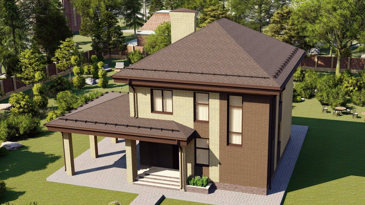 Проект красивого двухэтажного дома из газобетона 131 м2