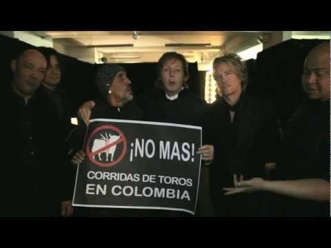 PAUL McCARTNEY DICE NO A LAS CORRIDAS DE TOROS EN COLOMBIA !!!