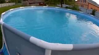 Каркасный бассейн.Наполнение водой и засыпка соли.
