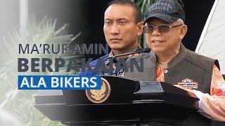 Datangi Gedung Parlemen, Wapres Ma'ruf Amin Tampil ala Bikers