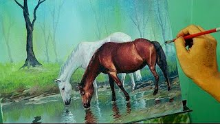 Acrylic Painting Lesson - Horses In The Misty Forest By JM Lisondra