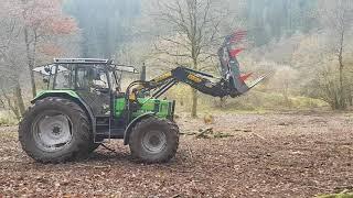 Landschaftspflege im Odenwald mit Deutz DX 4.56, Stoll Frontlader und Krokodilgebiss