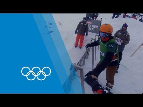POV Snowboard Cross Race Action With Chris Robanske