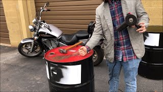Taking the Top Lid off a 55 Gallon Oil Drum with an Angle Grinder Easy