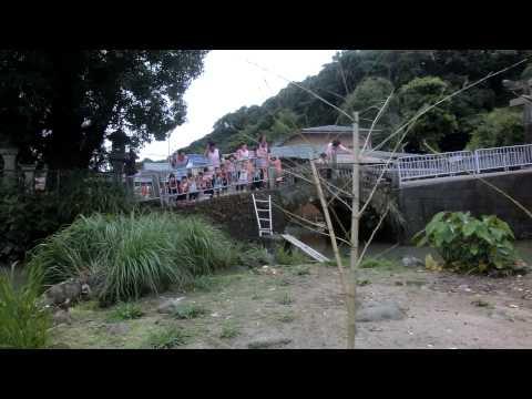 加津佐温泉神社泉水の島:うさぎと烏骨鶏と若木保育園児