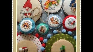 Моя коллекция новогодних пинкипов. Вышивка крестиком.