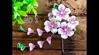 【100均材料だけで つまみ細工】コーム髪飾り作り方 七五三 成人式 Kanzashi Flower  Fabric Flower DIY