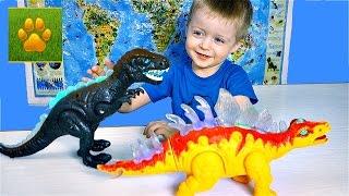 ДИНОЗАВРЫ Тиранозавр vs  Стегозавр Распаковка Обзор для Детей Детское Видео про Динозавров Lion boy